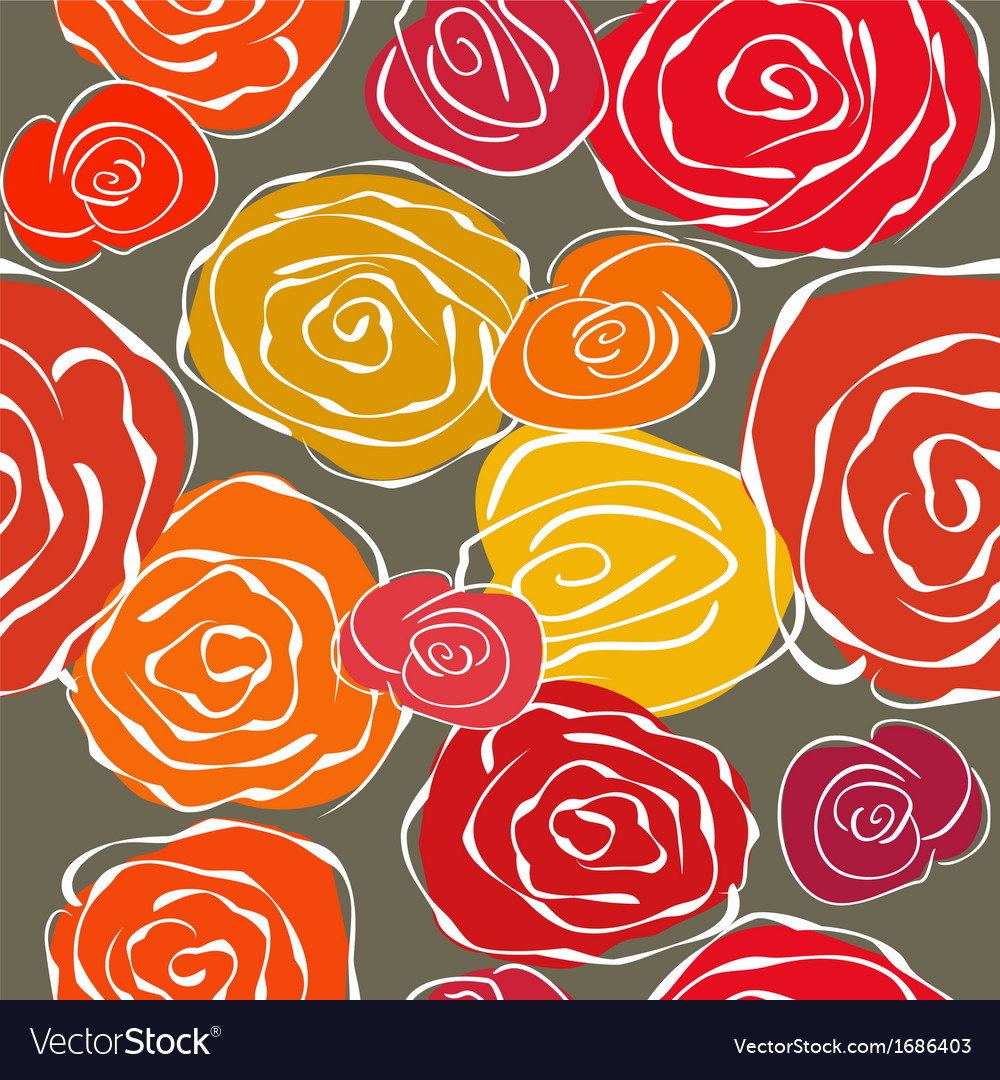 Vintage sketchy roses seamless background vector | Price: 1 Credit (USD $1)