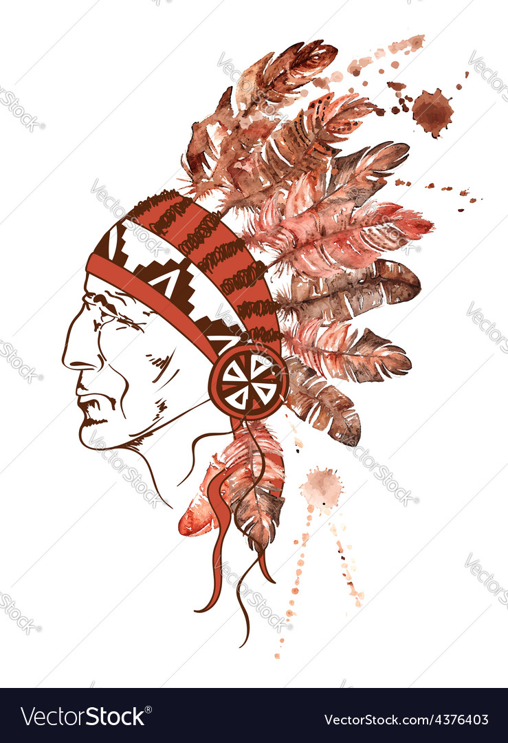 Watercolor native american indian chief vector | Price: 1 Credit (USD $1)