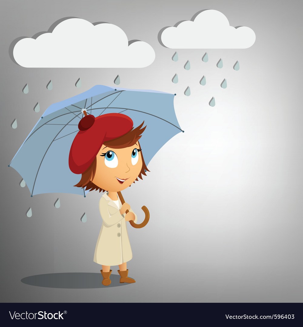 Young woman with umbrella vector | Price: 5 Credit (USD $5)