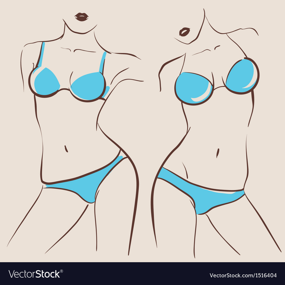Beautiful woman bodies in bikini vector | Price: 3 Credit (USD $3)