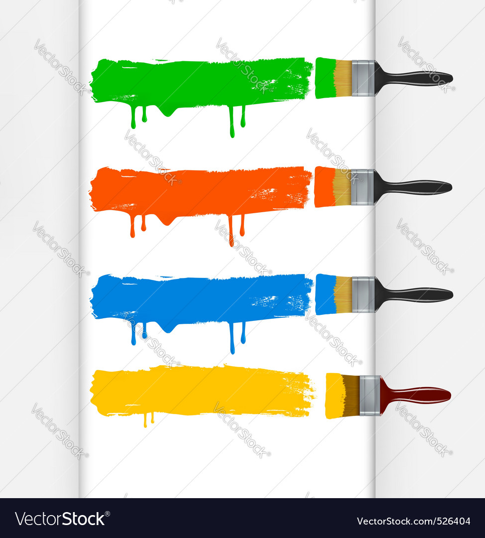 Colorful paint brushes vector | Price: 1 Credit (USD $1)