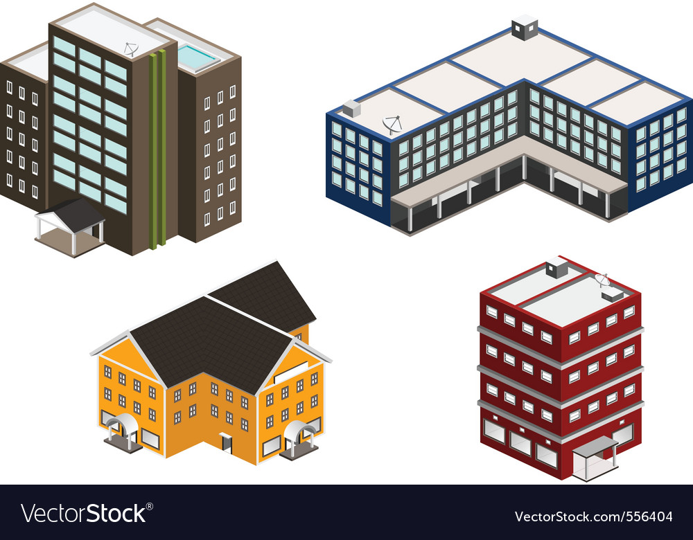 Isometric building set vector | Price: 5 Credit (USD $5)
