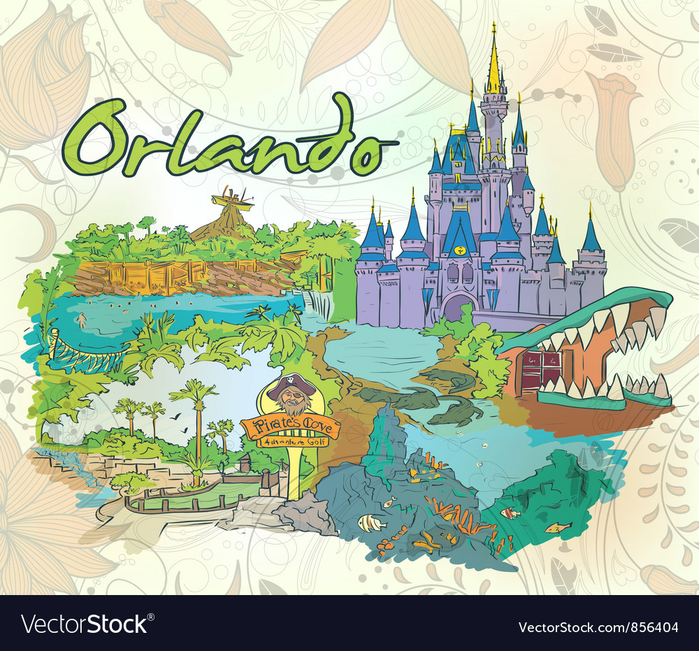 Orlando doodles with floral vector | Price: 3 Credit (USD $3)