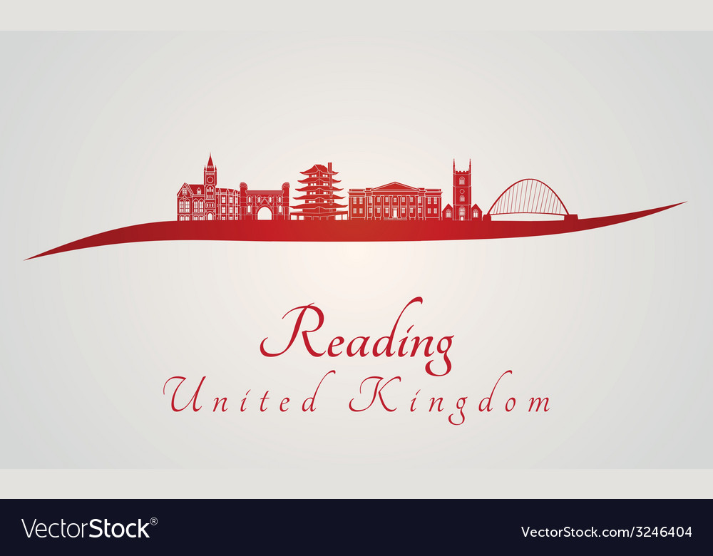 Reading skyline in red vector | Price: 1 Credit (USD $1)