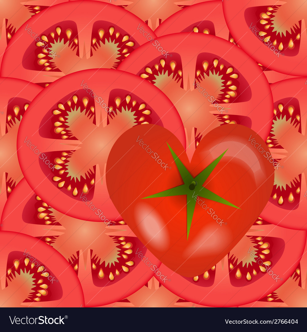Sliced tomato vegetables with a tomato heart vector | Price: 1 Credit (USD $1)