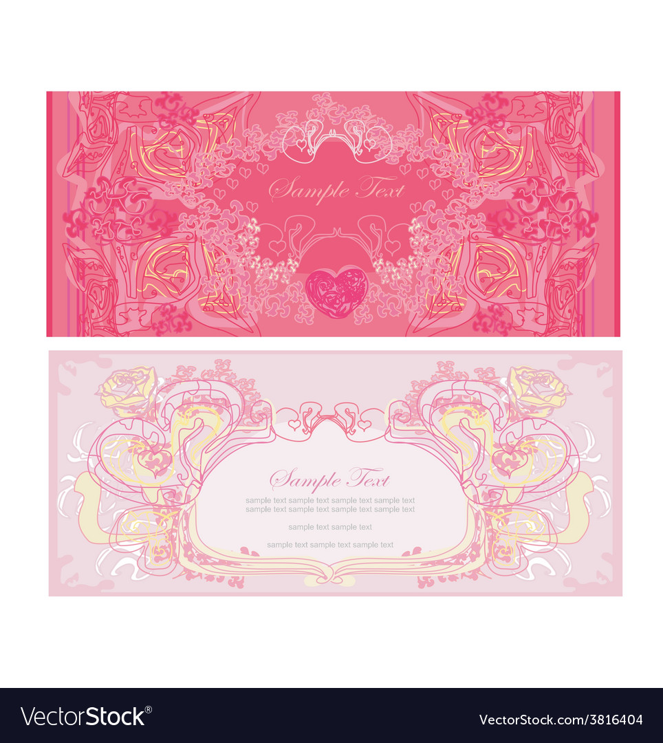 Vintage style valentine day card set vector | Price: 1 Credit (USD $1)