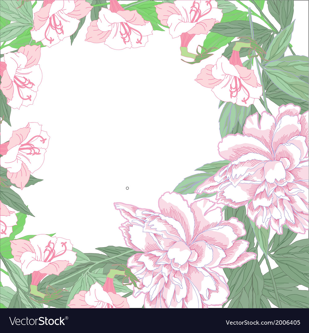 Background with two pink peonies and pink flowers vector   Price: 1 Credit (USD $1)