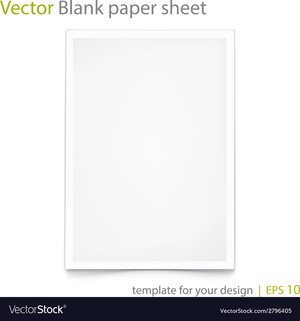 Blank paper a4 isolated on white eps 10 vector | Price: 1 Credit (USD $1)