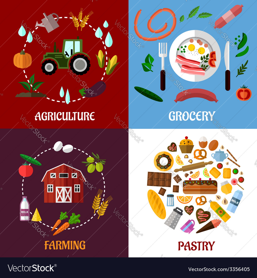 Creative food products concept flat infographics vector | Price: 1 Credit (USD $1)