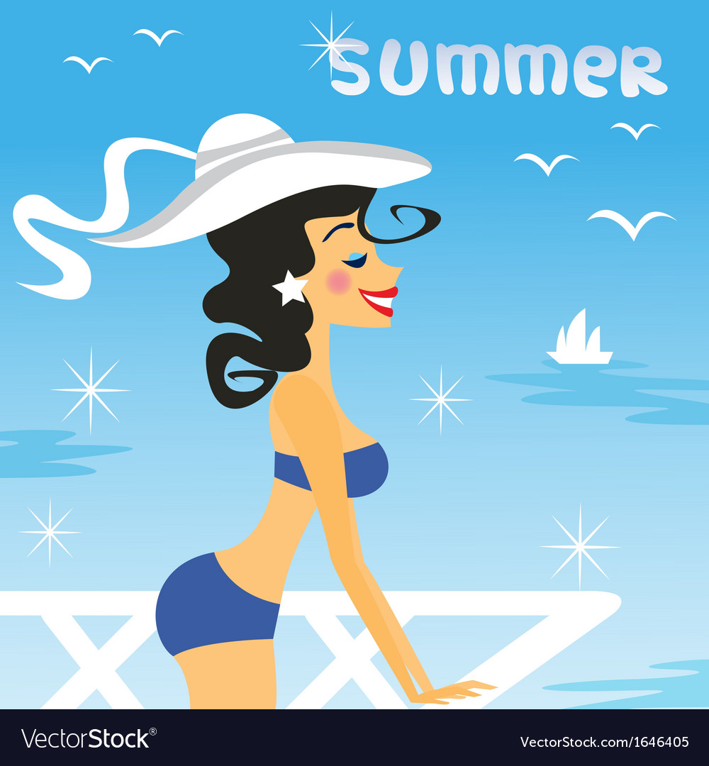Girl summer vector | Price: 1 Credit (USD $1)