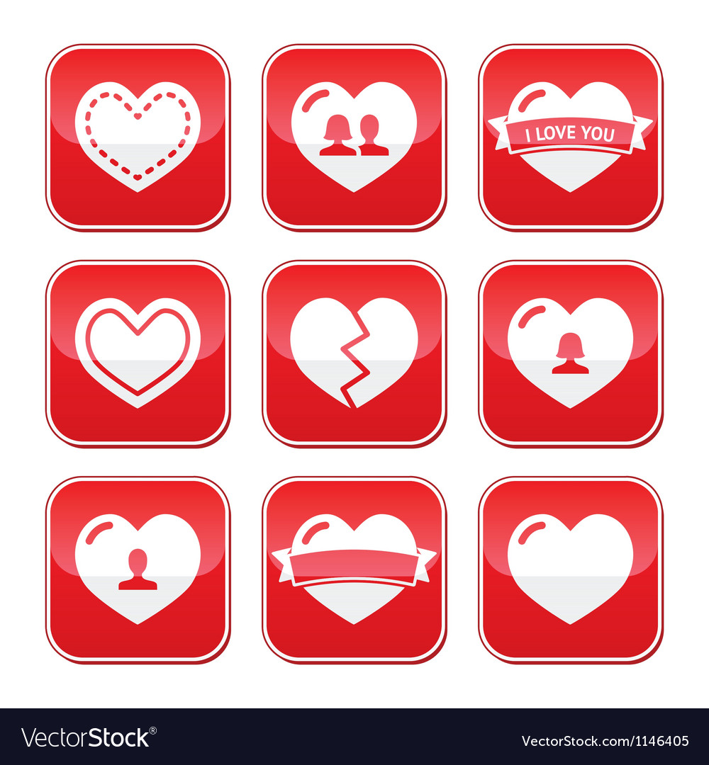 Love hearts buttons set for valentines day vector | Price: 1 Credit (USD $1)