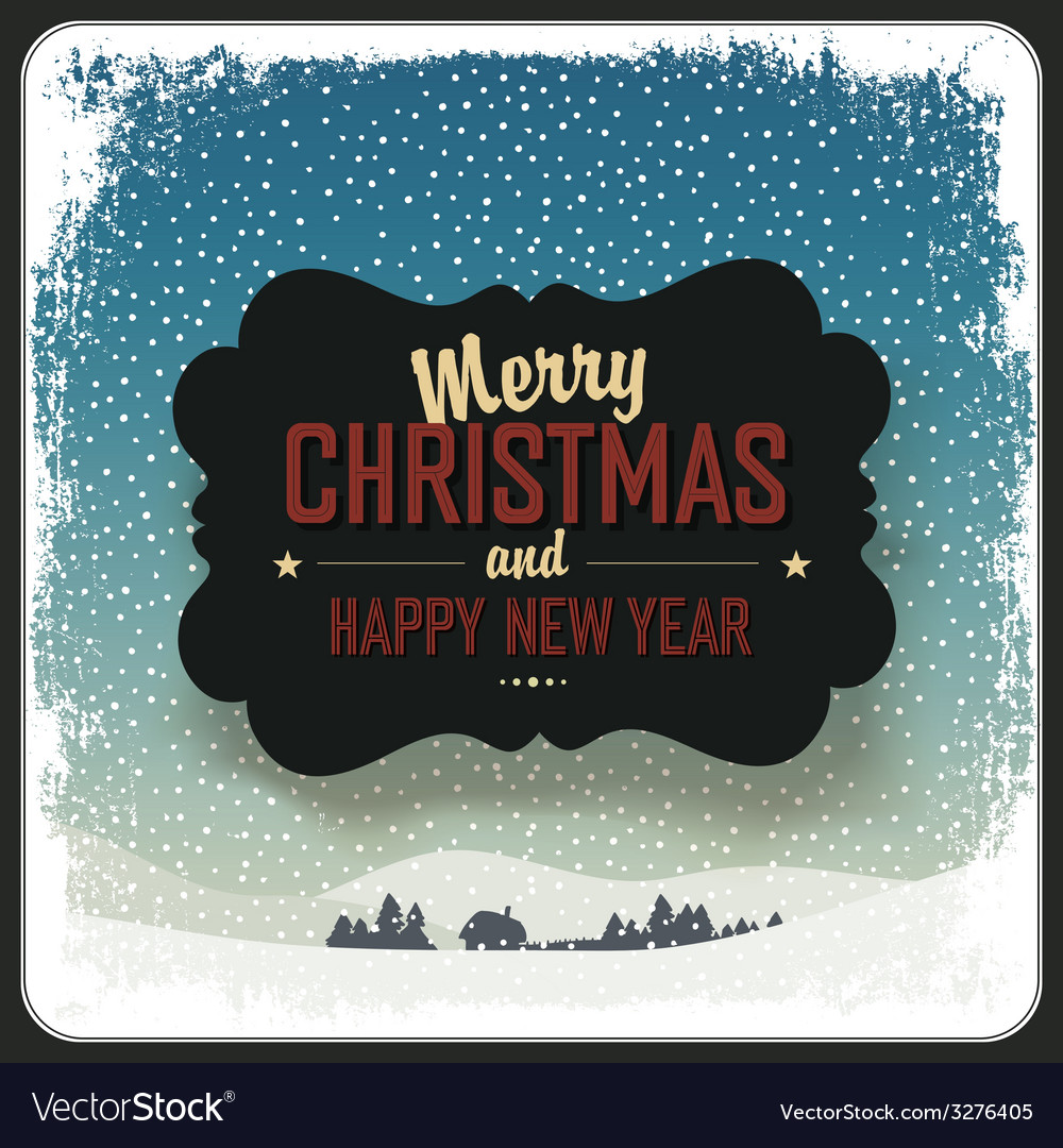 Merry christmas vintage label design template vector | Price: 1 Credit (USD $1)