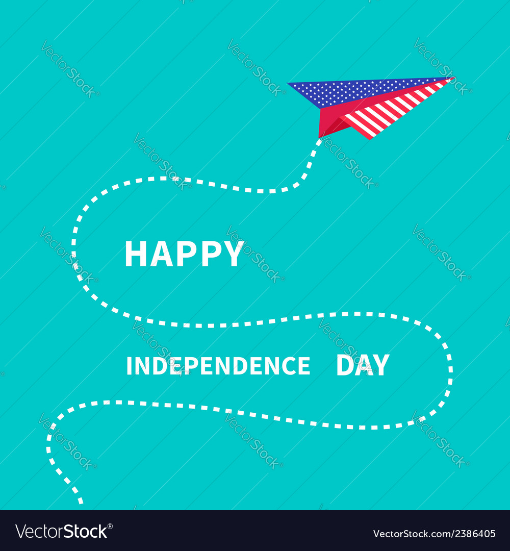 Paper plane with dash line happy independence day vector | Price: 1 Credit (USD $1)