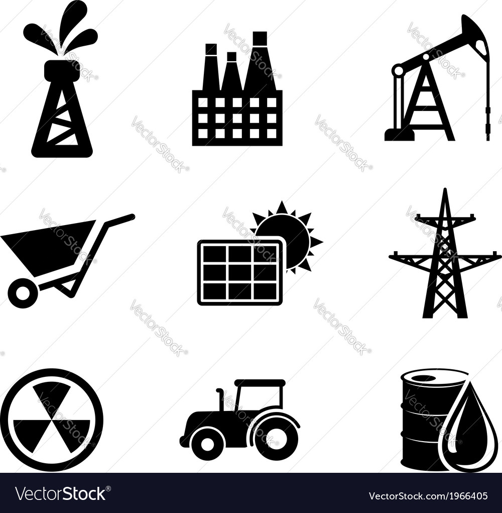 Set of black and white industrial icons vector | Price: 1 Credit (USD $1)