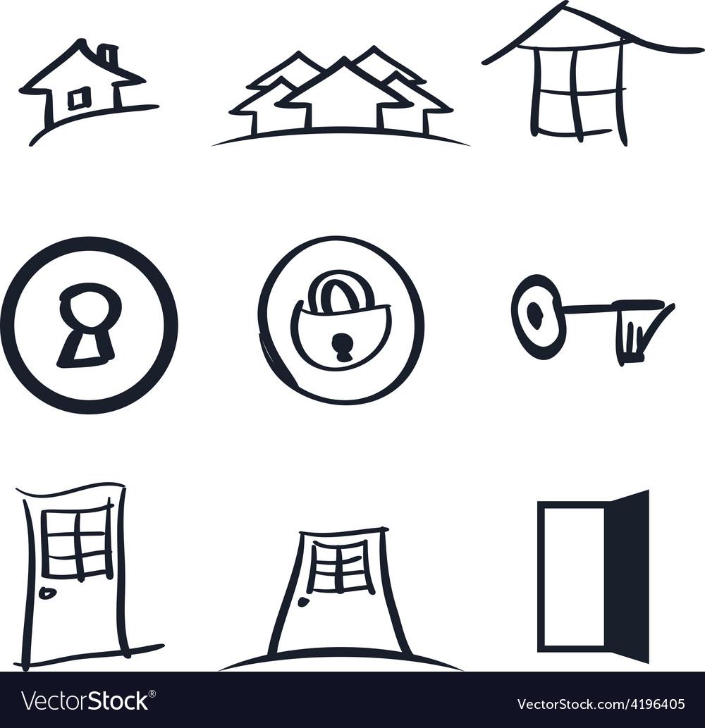 Set of nine realestate logos vector | Price: 1 Credit (USD $1)