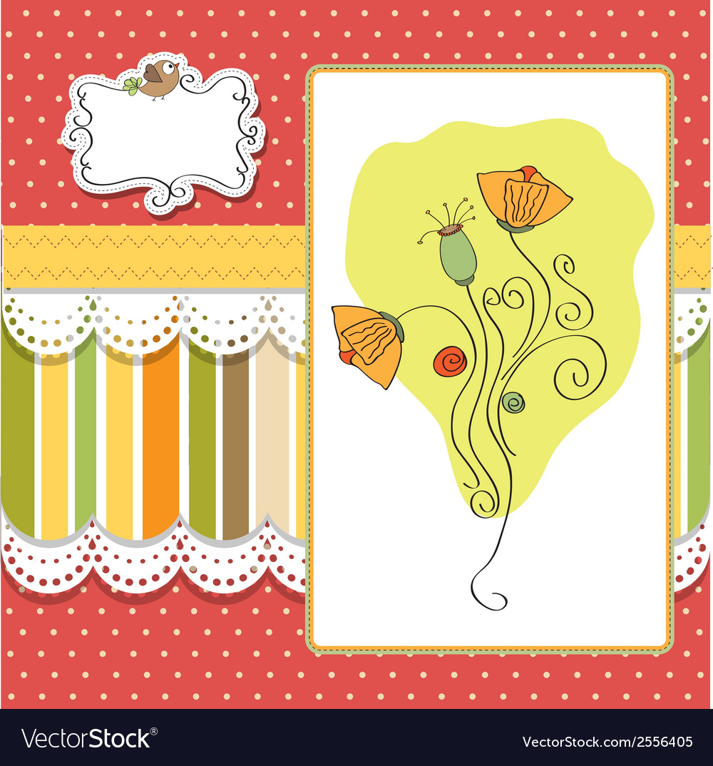 Thank you greeting card with flower vector | Price: 1 Credit (USD $1)