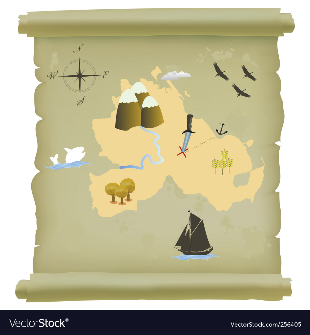 Treasure island map vector | Price: 1 Credit (USD $1)
