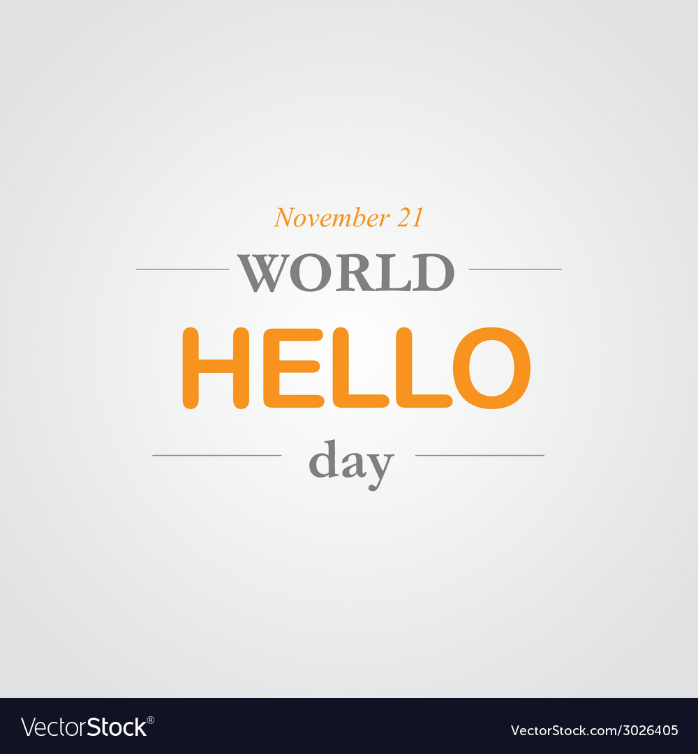World hello day icon vector | Price: 1 Credit (USD $1)