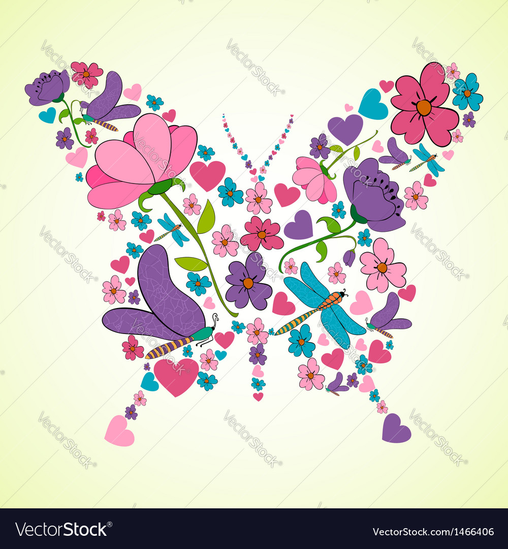 Beautiful spring flowers butterfly shape vector | Price: 1 Credit (USD $1)