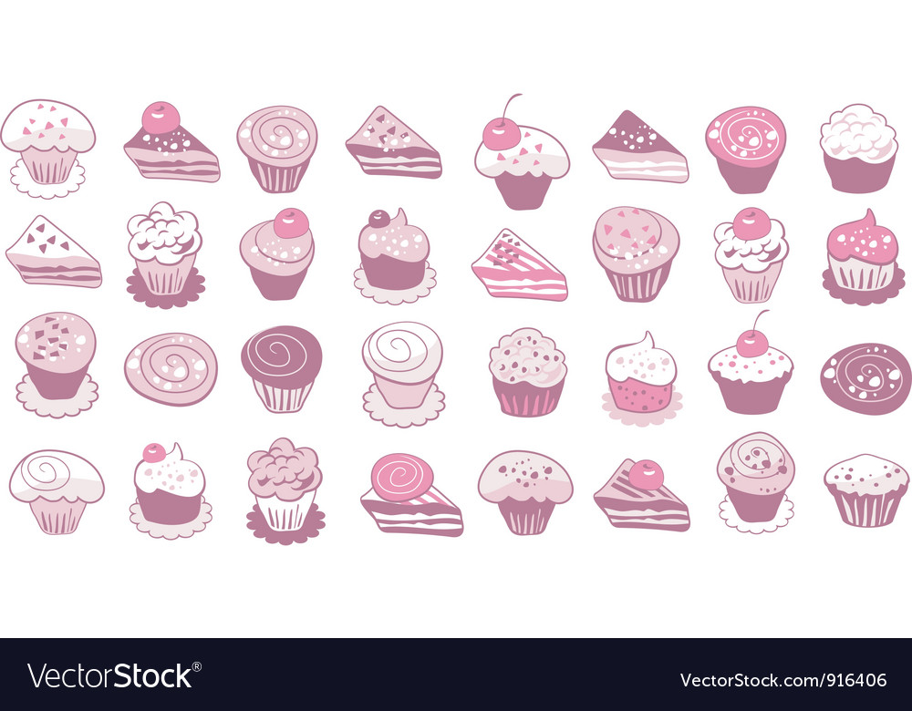 Cake icons set vector | Price: 1 Credit (USD $1)