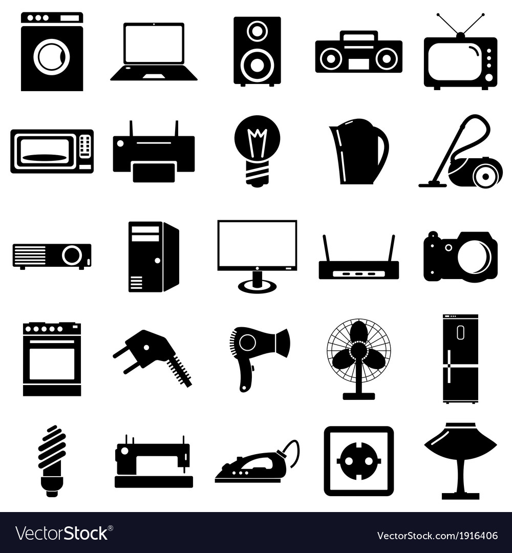 Collection flat icons electrical devices symbols vector | Price: 1 Credit (USD $1)
