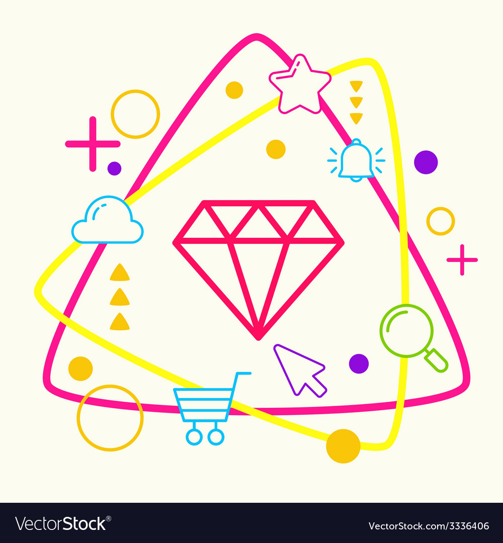 Diamond on abstract colorful geometric light vector | Price: 3 Credit (USD $3)