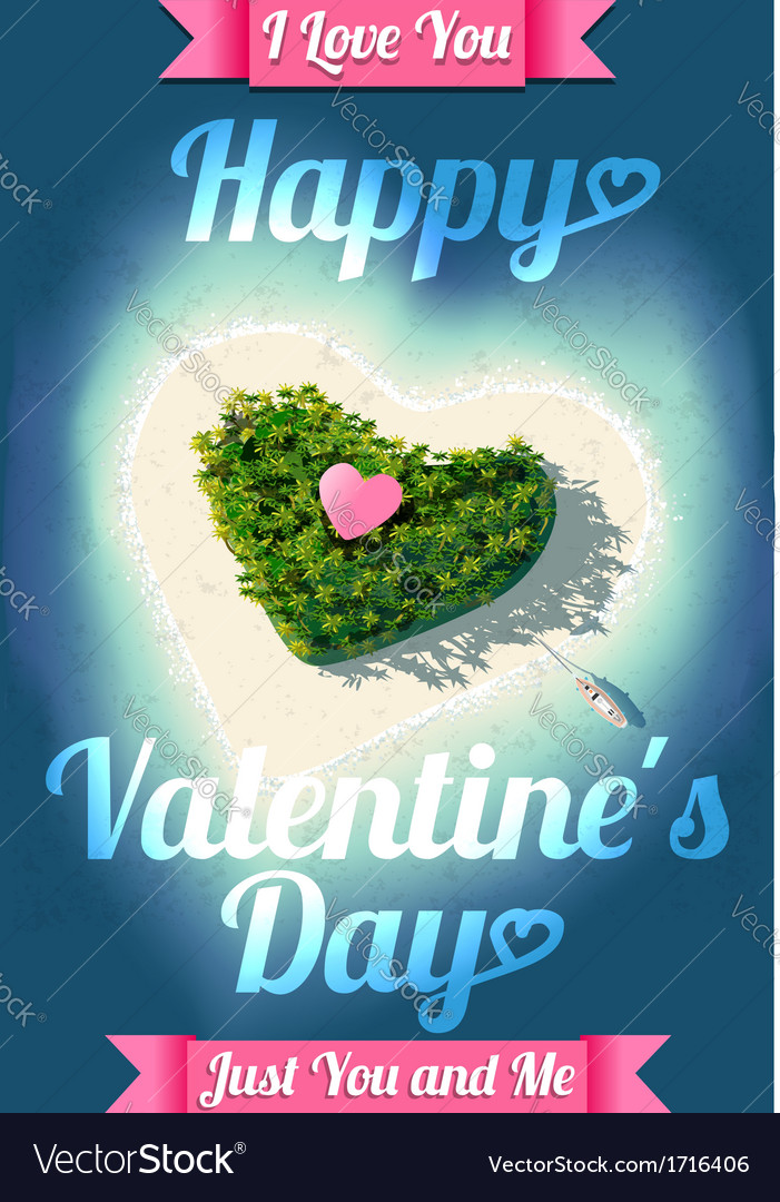 Happy valentines day tropical island vector | Price: 1 Credit (USD $1)