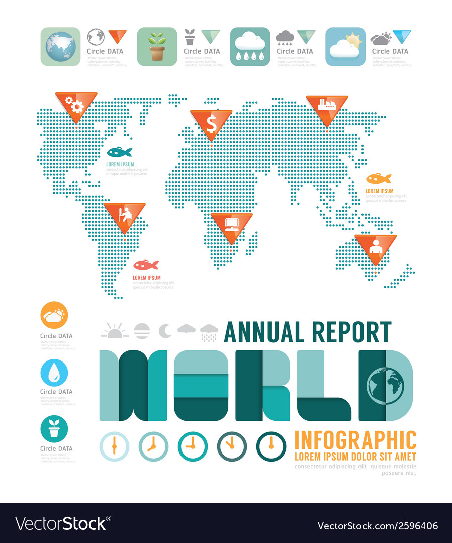 Infographic annual report world template vector | Price: 1 Credit (USD $1)