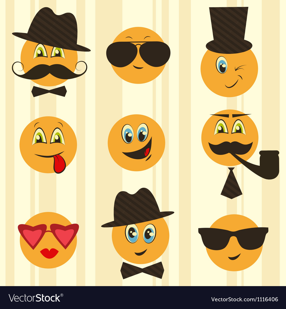 Retro smileys vector | Price: 1 Credit (USD $1)