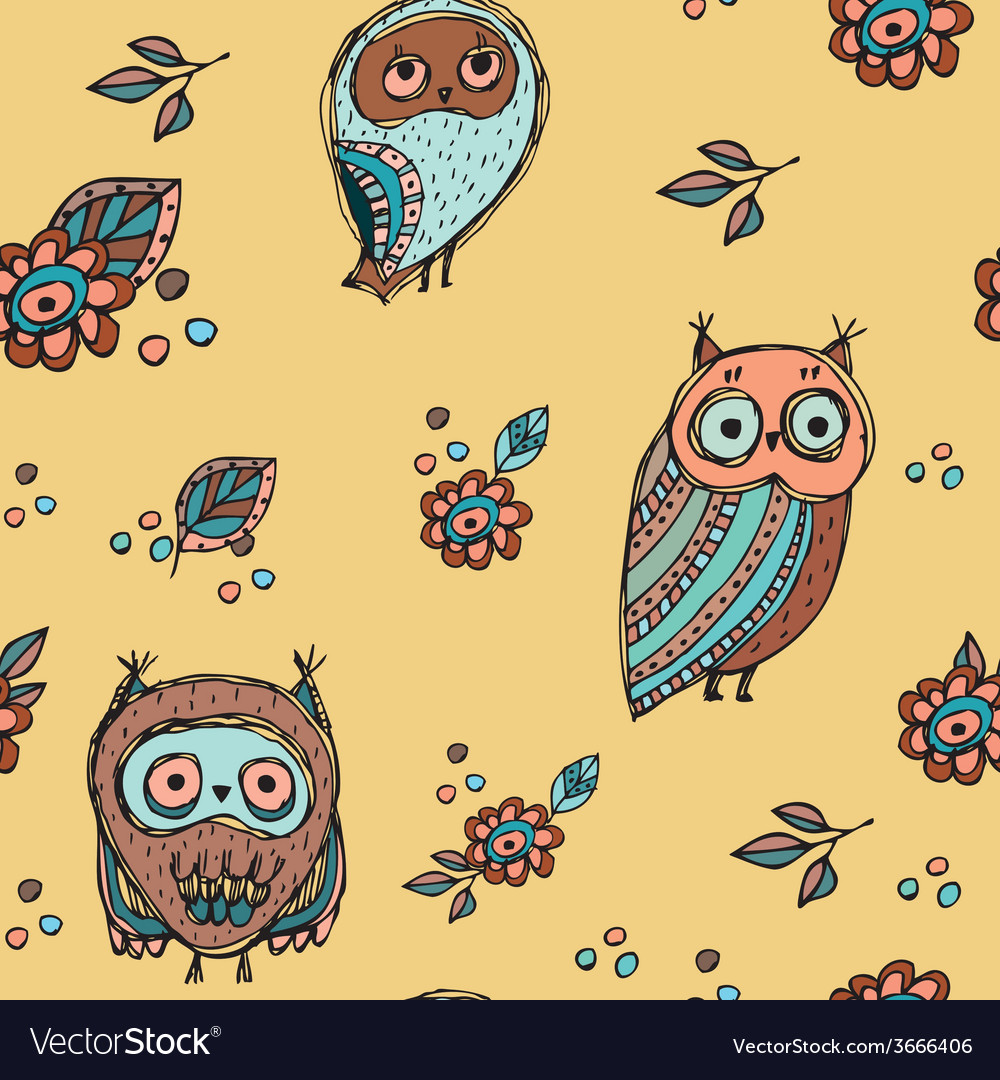 Set of funny owl with flowers sketch doodle vector   Price: 1 Credit (USD $1)