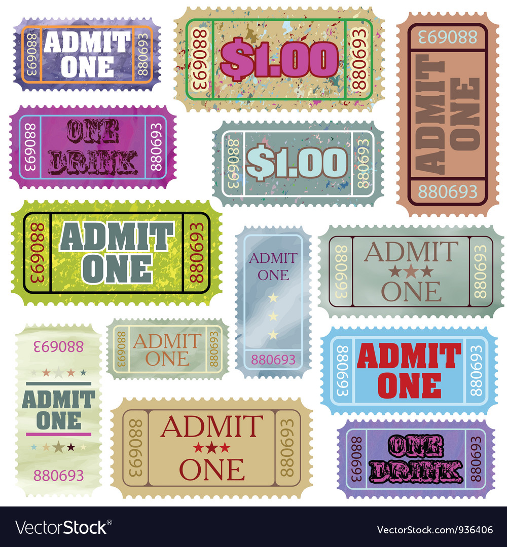 Set of ticket admit one eps 8 vector | Price: 1 Credit (USD $1)