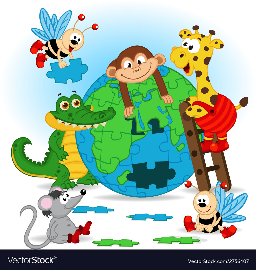 Animals puzzle earth vector | Price: 1 Credit (USD $1)