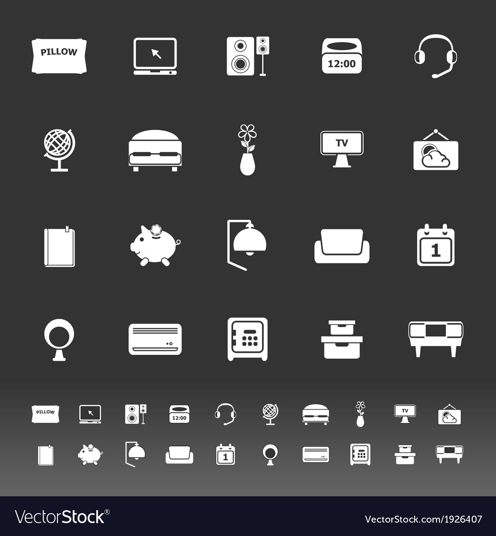 Bedroom icons on gray background vector | Price: 1 Credit (USD $1)
