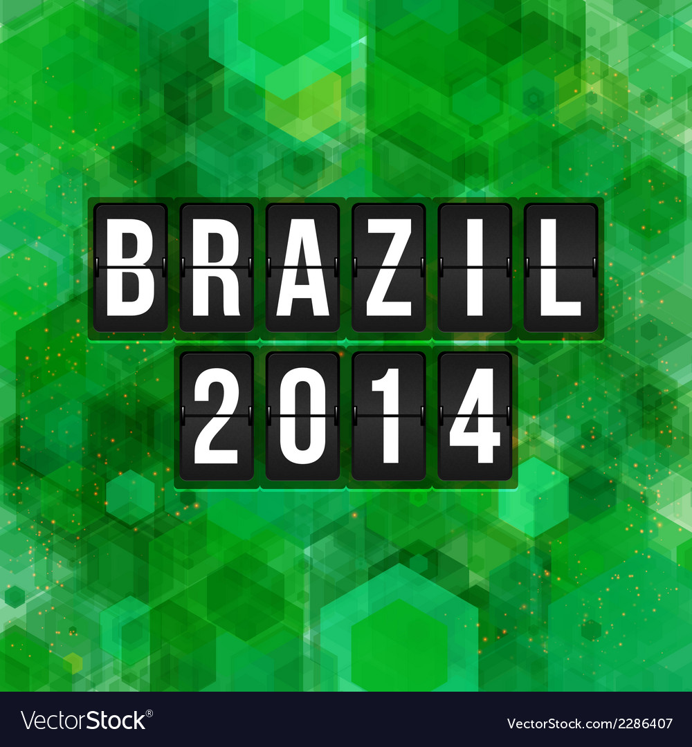Brazil 2014 football poster hexagon background vector | Price: 1 Credit (USD $1)