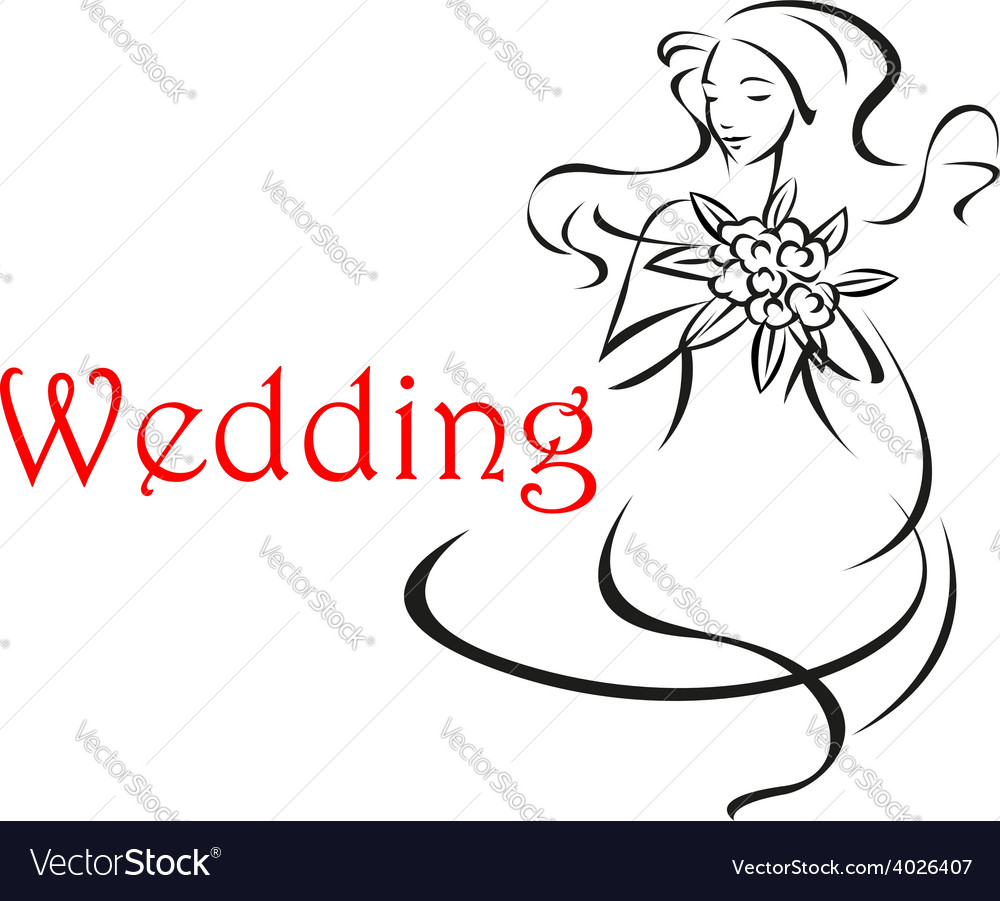 Bride with long curly hair wedding card vector | Price: 1 Credit (USD $1)