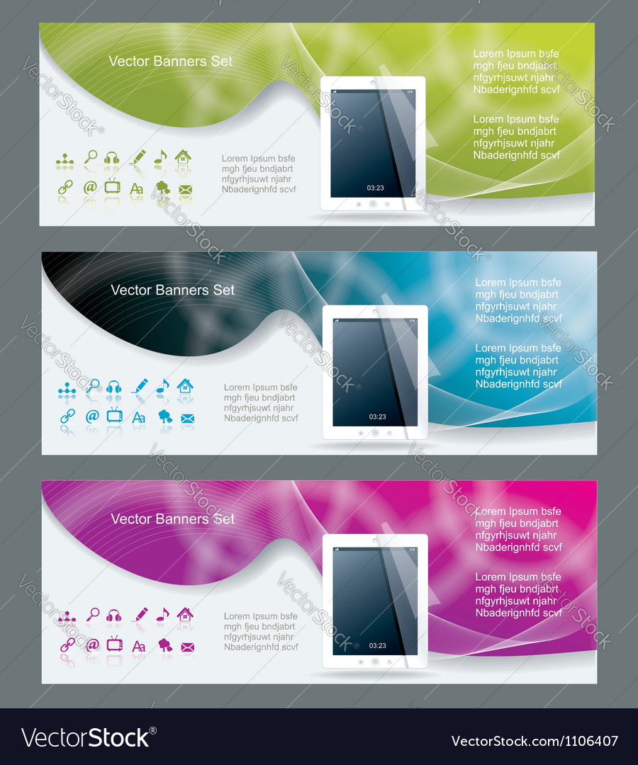 Collection banner design tablet pc computer vector | Price: 1 Credit (USD $1)