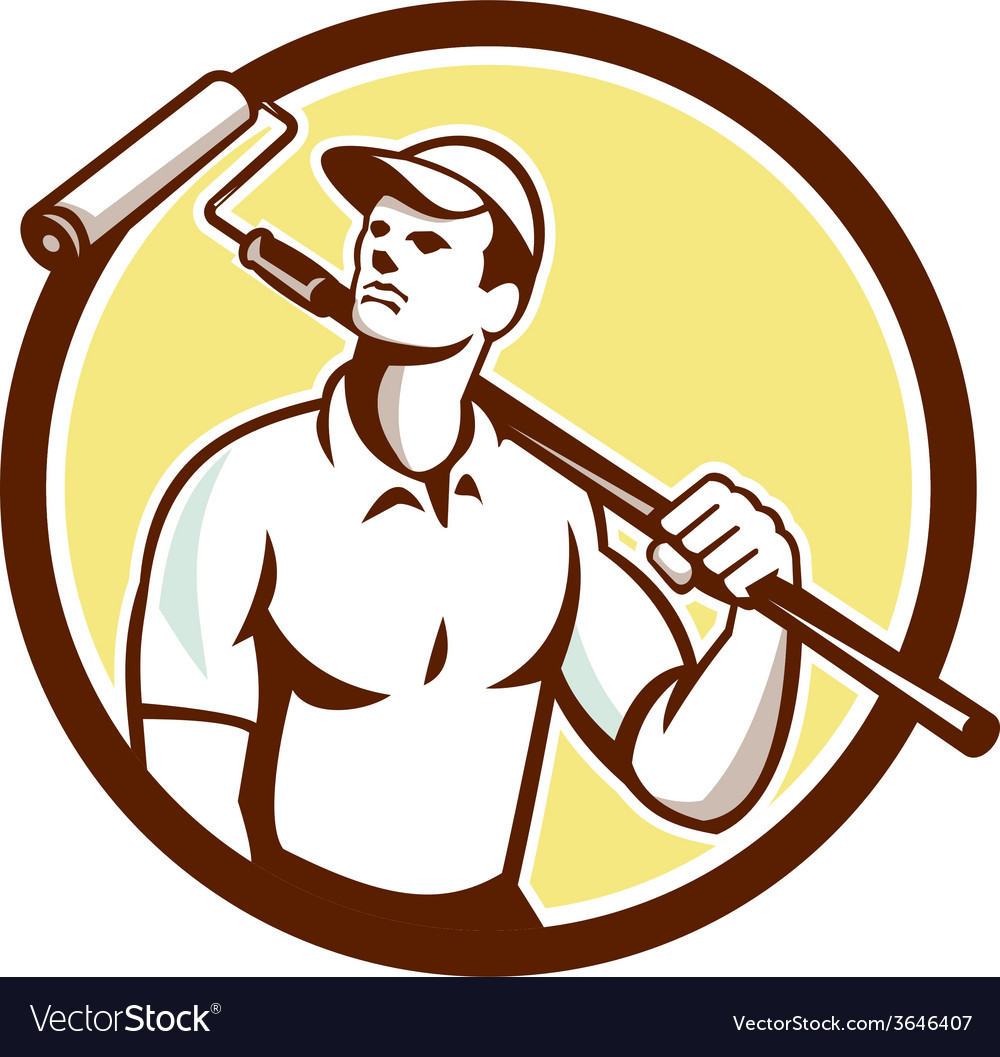Handyman house painter paint roller circle retro vector | Price: 1 Credit (USD $1)