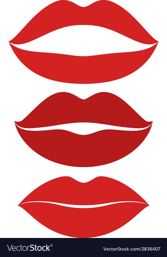 Human lips kiss icon set vector | Price: 1 Credit (USD $1)