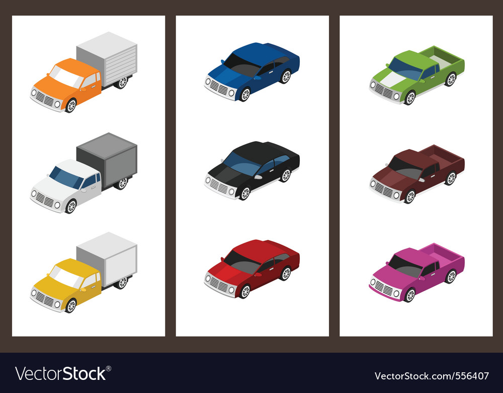 Isometric car set vector | Price: 5 Credit (USD $5)
