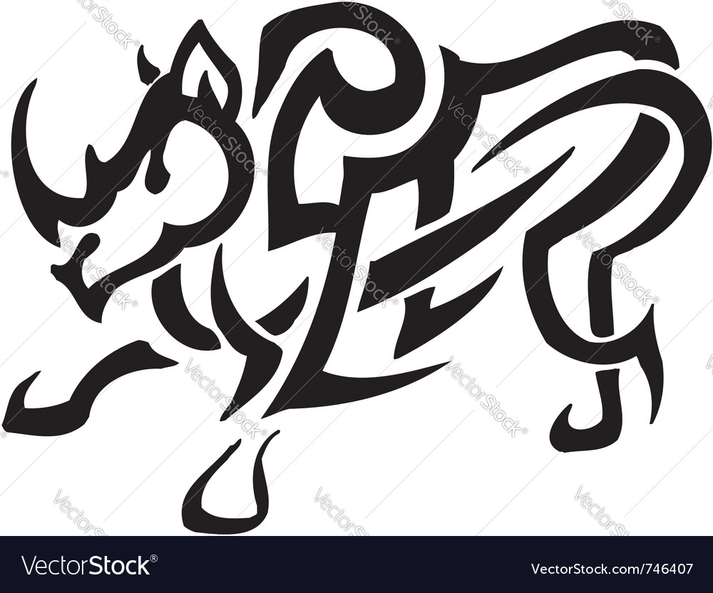 Rhino in tribal style - vector | Price: 1 Credit (USD $1)