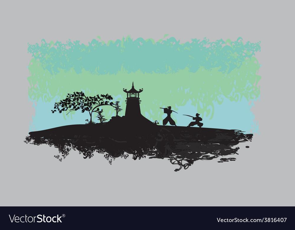 Samurai silhouette in asian landscape vector   Price: 1 Credit (USD $1)