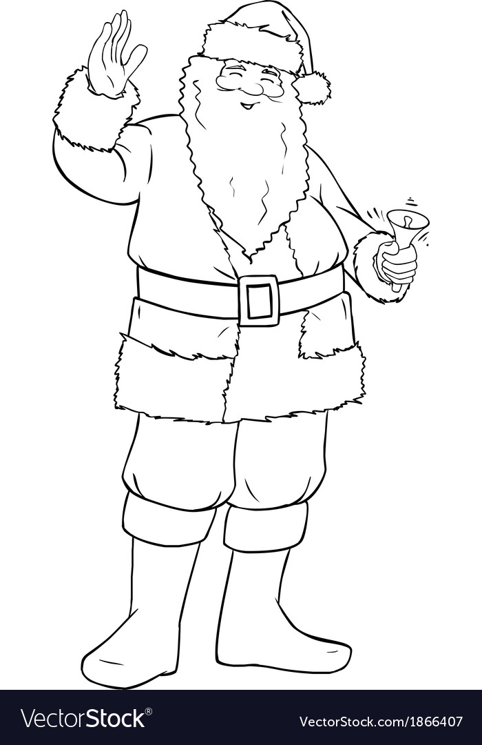 Santa claus holding bell and waving for christmas vector | Price: 1 Credit (USD $1)