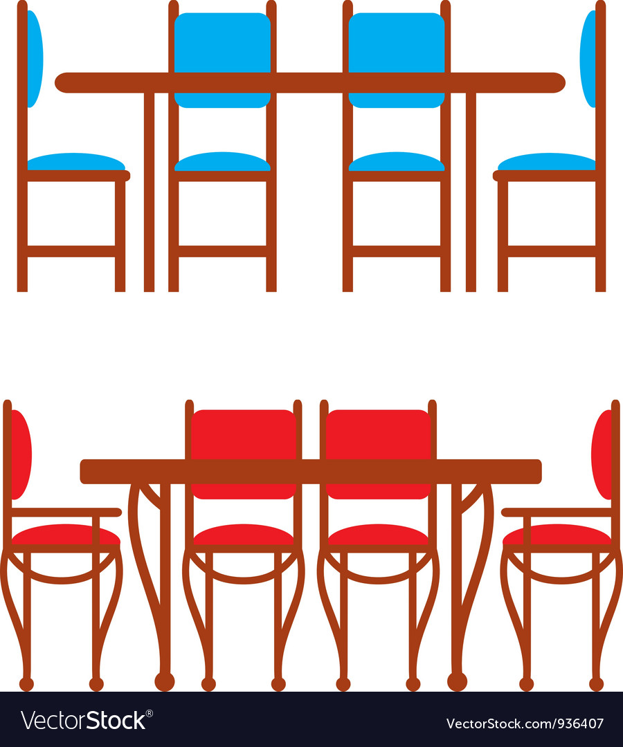 Set of dining tables and chairs vector | Price: 1 Credit (USD $1)