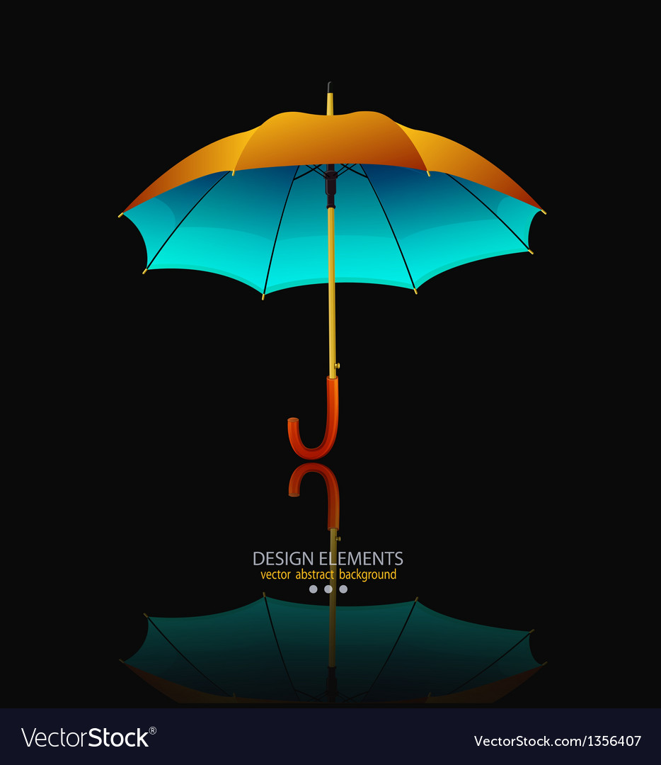 Umbrella with reflection on black background vector | Price: 1 Credit (USD $1)