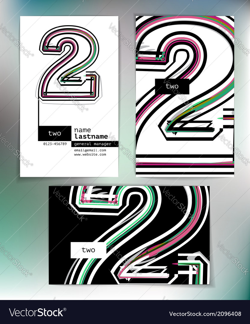 Business card design with number 2 vector   Price: 1 Credit (USD $1)