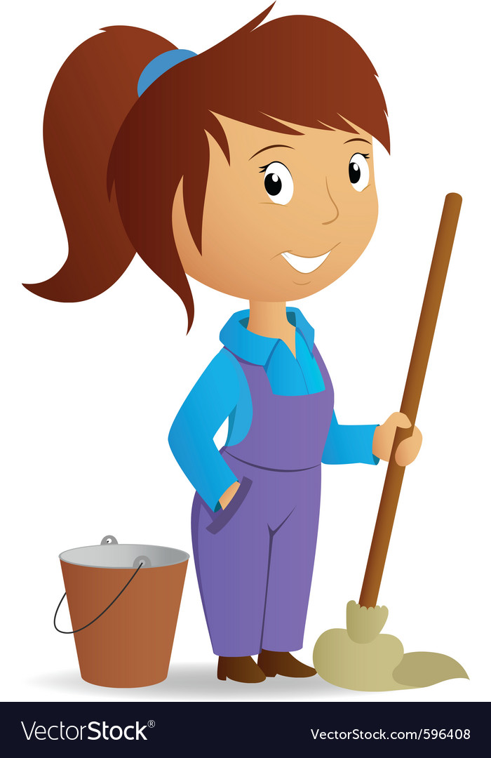 Cleaning girl vector | Price: 3 Credit (USD $3)
