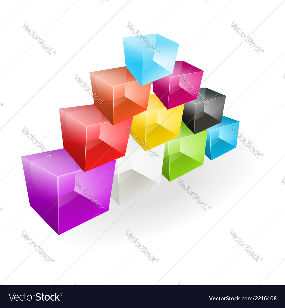 Color glass cubes made a pyramid vector | Price: 1 Credit (USD $1)