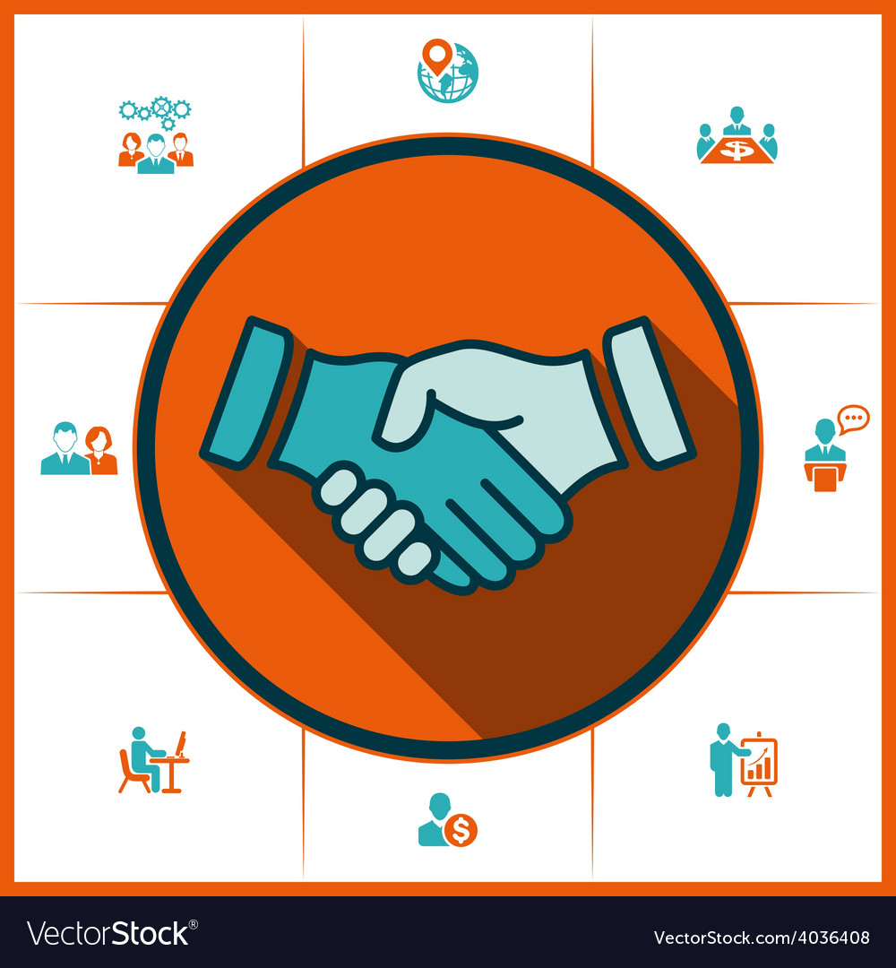 Flat icons handshake for business and finance vector | Price: 1 Credit (USD $1)