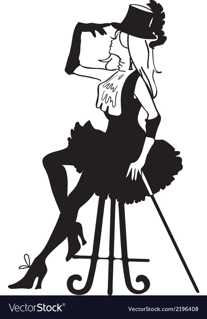 Graphic silhouette of a cabaret woman vector | Price: 1 Credit (USD $1)