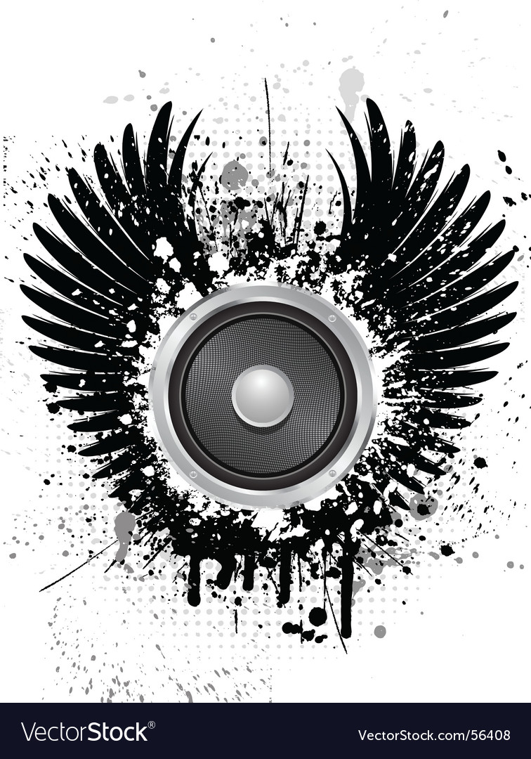 Grunge sound wings vector | Price: 1 Credit (USD $1)